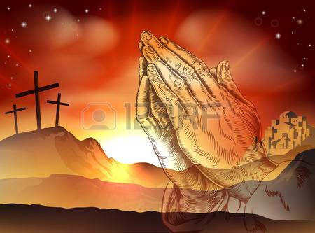 Concepto-cristiano-pascua-de-cruces-en-el-calvario-colina-y-manos-orando